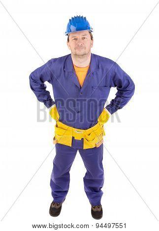 Worker in blue protective helmet.