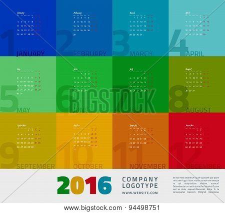 Year Calendar 2016