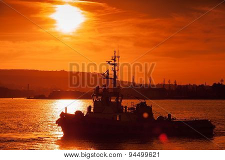 Black Sea At Sunset. Tug Ship Is Underway, Varna