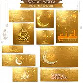picture of arabic calligraphy  - Beautiful golden social media post and header set decorated with crescent moon and Arabic Islamic calligraphy of text Eid Mubarak for Muslim community festival celebration - JPG