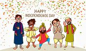 picture of indian independence day  - Illustration of different religion men showing unity in diversity on occasion of Indian Independence Day celebration - JPG