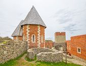 stock photo of chapels  - Chapel and walls on Medvedgrad castle in Zagreb - JPG
