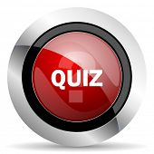 picture of quiz  - quiz red glossy web icon original modern metallic and chrome design for web and mobile app on white background   - JPG