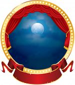 stock photo of curtains stage  - vector abstract illustration of circle stage with red curtain - JPG