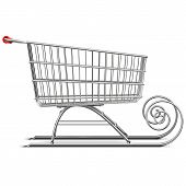 stock photo of toboggan  - Supermarket cart with sleigh isolated on white background - JPG