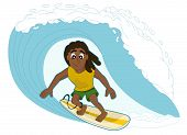 pic of rasta  - Illustration of rasta surfer surfing a big wave isolated on a white background - JPG