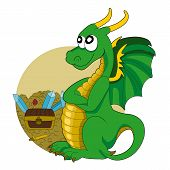 stock photo of treasure  - Illustration of a green dragon guarding a treasure isolated on a white background - JPG