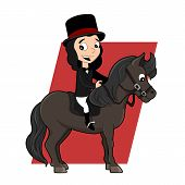 stock photo of pony  - Illustration of a cute little girl with top hat riding a pony isolated on a white background - JPG