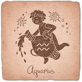 stock photo of zodiac sign  - Aquarius zodiac sign horoscope vintage card - JPG