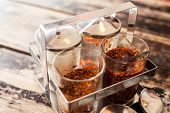 image of condiment  - Thai condiment pepper Sugar and fish sauce for noodle or padthai - JPG