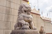 picture of stone sculpture  - Buddhist sculpture of a lion - JPG