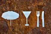 stock photo of oxidation  - Classic Vintage Old Rusty Oxidated Restaurant Sign With Fork and Knife - JPG