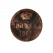 pic of copper coins  - Ancient coin isolated on the white background - JPG