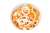 pic of squid  - Squid salad with carrots isolated on a white background - JPG