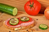Постер, плакат: Sandwich on a cutting board