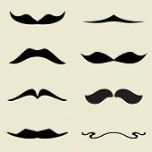 picture of rogue  - Set of retro black mustaches on beige background - JPG