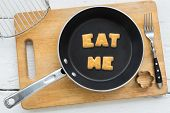 image of eat me  - Top view of letter collage made of biscuits - JPG