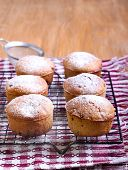 pic of icing  - Whole meal muffins with raisin coated with icing on wire rack - JPG