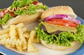 image of hamburger-steak  - Hamburger with cheese hotdog and crinkle fries - JPG