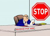 stock photo of nameplates  - Business cartoon of businessman with stop sign and nameplate that reads - JPG