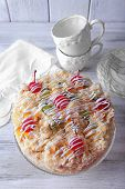 pic of cake stand  - Butter cake with cherries on stand - JPG
