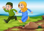 stock photo of muslim man  - Man and woman muslims running in the park - JPG