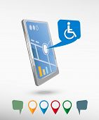 pic of handicapped  - Disabled Handicap icon and perspective smartphone vector realistic - JPG