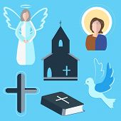 picture of blue angels  - Set of vector elements on the subject of religion - JPG