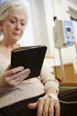 pic of chemotherapy  - Senior Woman Undergoing Chemotherapy With Digital Tablet - JPG