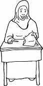image of quiz  - Outline of Muslim female student with quiz at desk - JPG