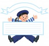foto of vest  - Template baner or greeting card with happy jolly boy sailor in vest and sailor hat - JPG