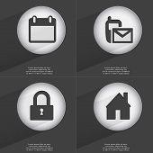 stock photo of sms  - Calendar SMS Lock House icon sign - JPG