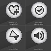 stock photo of heart sounds  - Heart with plus Tick Megaphone Sound icon sign - JPG