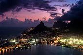 image of ipanema  - Spectacular Sunset above Rio de Janeiro - Lagoon, Mountains, Leblon, Ipanema, and Gavea Neighborhoods Illuminated in the Dark. ** Note: Soft Focus at 100%, best at smaller sizes - JPG