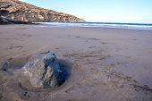 stock photo of atlantic ocean  - Dry Lava Coast Beach in the Atlantic Ocean - JPG
