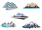 image of rocky-mountains  - Set of mountain symbols for majestic design - JPG