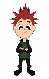 foto of frown  - Frowning punker kid illustration isolated on a white background - JPG
