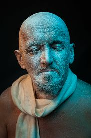 foto of madman  - The bald man with a mustache and a beard - JPG
