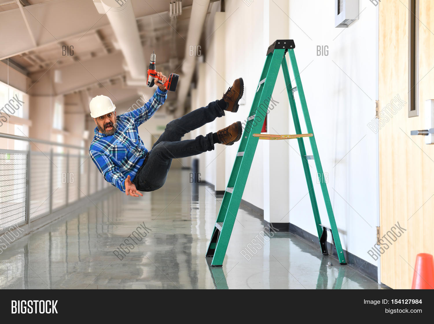 Construction Worker Falling Off Image Amp Photo Bigstock