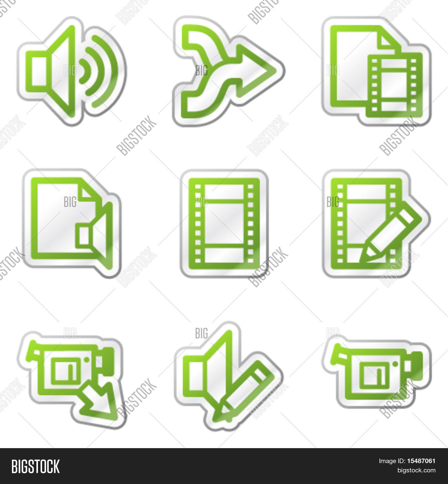 Audio video edit web icons green vector photo bigstock audio video edit web icons green contour sticker series ccuart Images