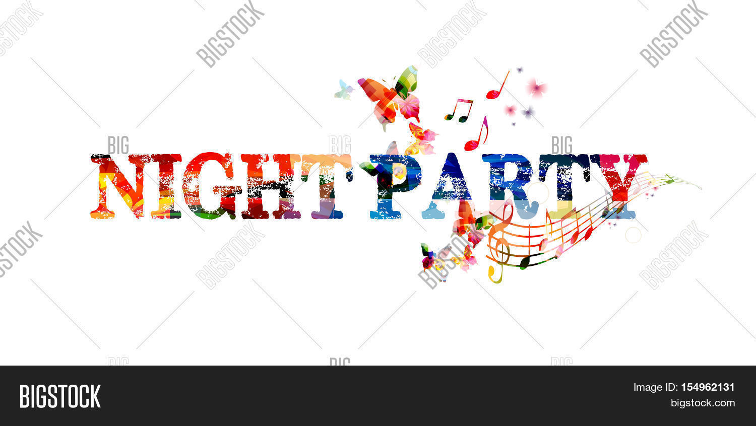 Poster design notes - Colorful Typographic Party Background Party Poster Design Night Party Inscription With Music Notes