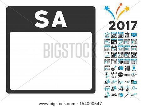 Saturday Calendar Page pictograph with bonus calendar and time management symbols. Glyph illustration style is flat iconic symbols, blue and gray colors, white background.