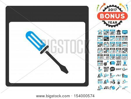 Screwdriver Calendar Page pictograph with bonus calendar and time management pictograph collection. Glyph illustration style is flat iconic symbols, blue and gray colors, white background.