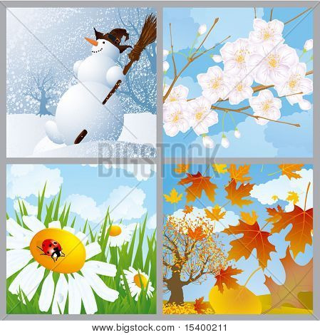 Four seasons. Vector.