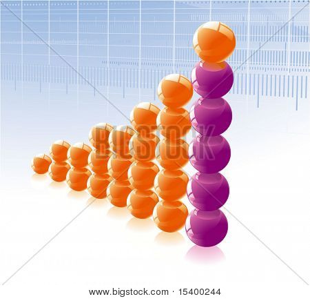 Glossy spheres grow chart. Vector.