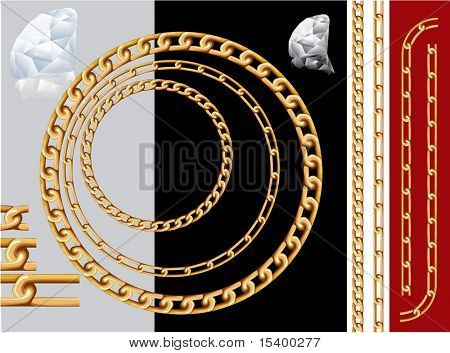 Gold chains and diamonds. Vector contains pattern brushes of chains.