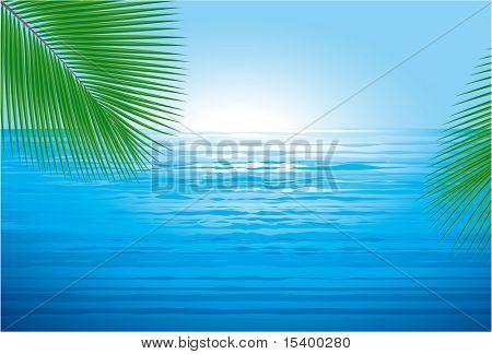 Amanecer del océano. Fondo de vector.
