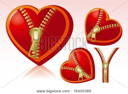 Zipped hearts. Vector.