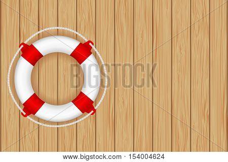 Lifesaving buoy on wooden background. Vector illustration