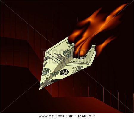 Burning dollar. Vector concept.